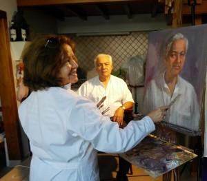 Mercedes Ballesteros me pinta un Retrato